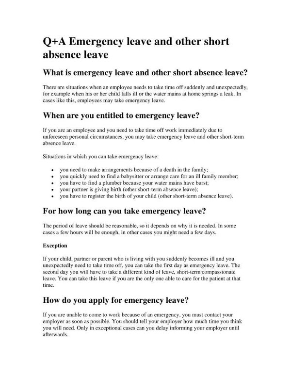 11 emergency leave letter templates pdf free premium templates emergency and short leave absence letter altavistaventures