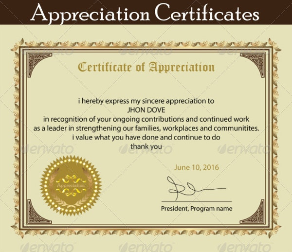employee appreciation certification