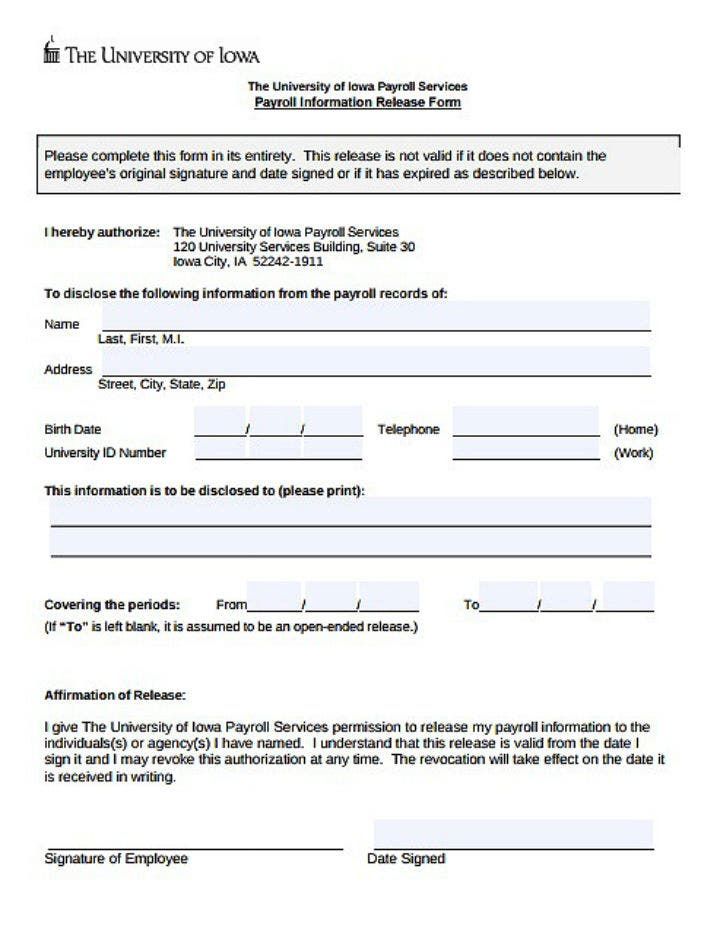 employee-payroll-information-release-form-template