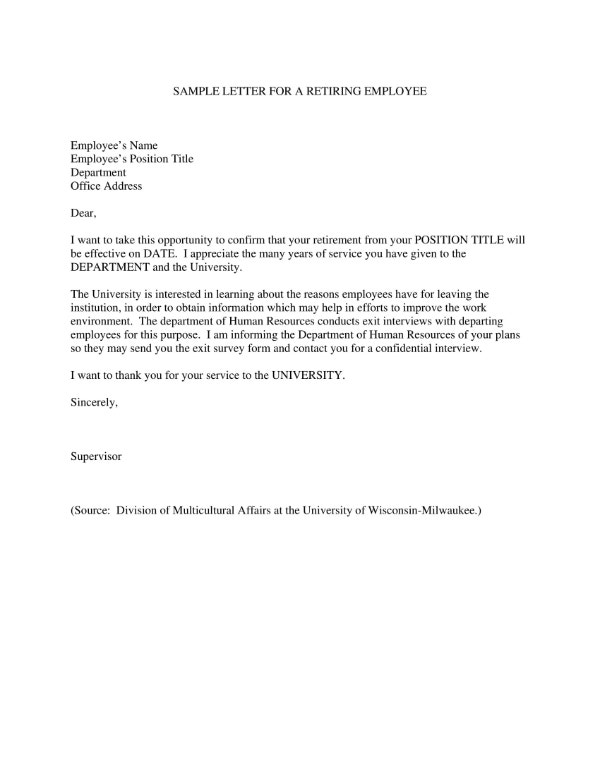 Employee Sample Retirement Letter to Clients