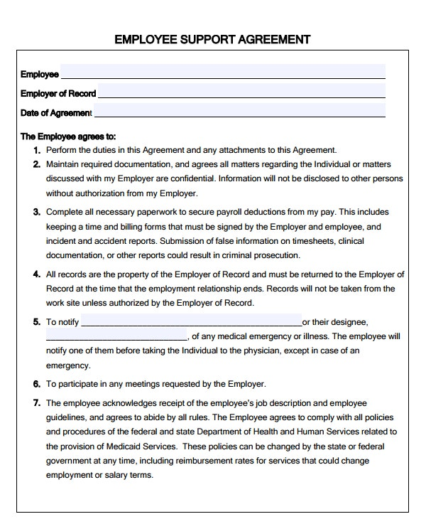 employee support agreement