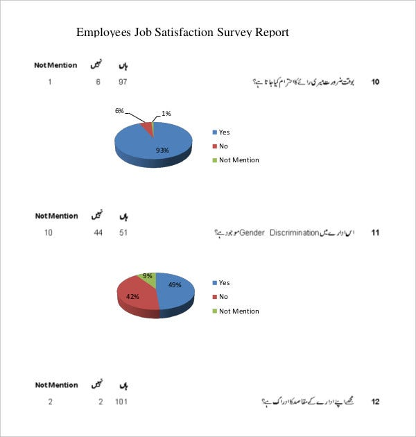 employees job satisfaction survey report sample