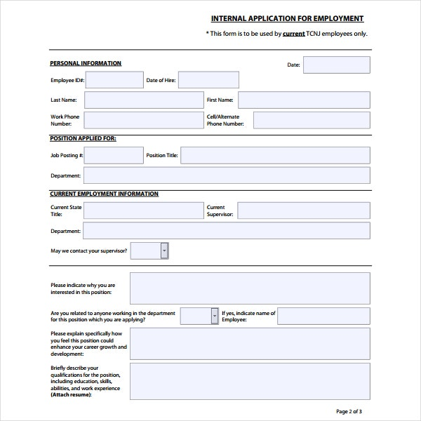 Employment Internal Application Template