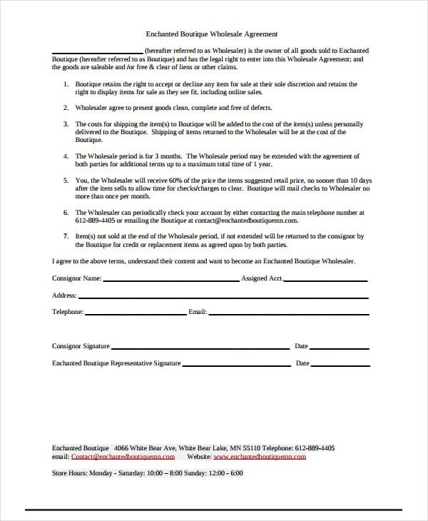 enchanted boutique wholesale agreement
