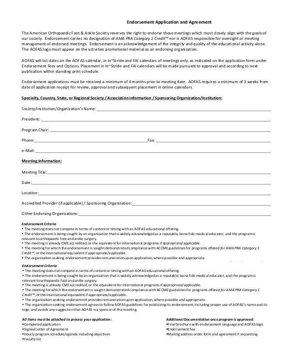 endorsement-application-agreement