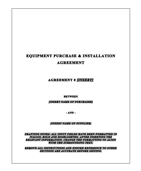 equipment purchase installation agreement