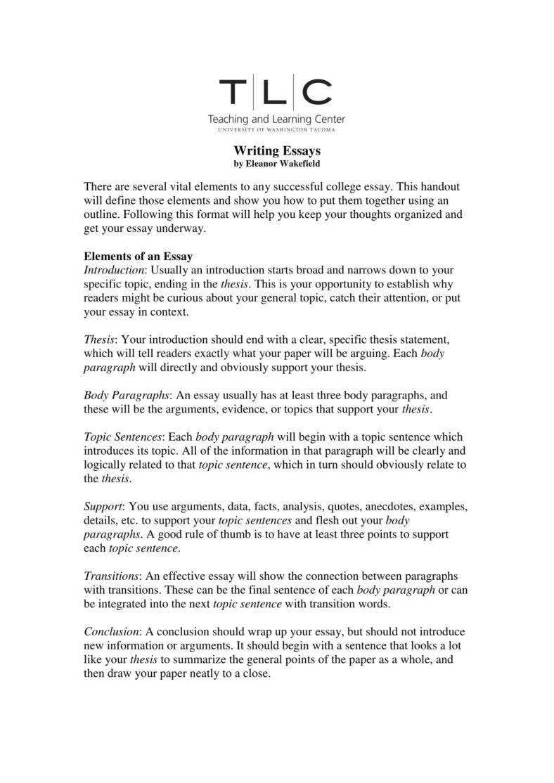 Essay Outline Worksheet Template