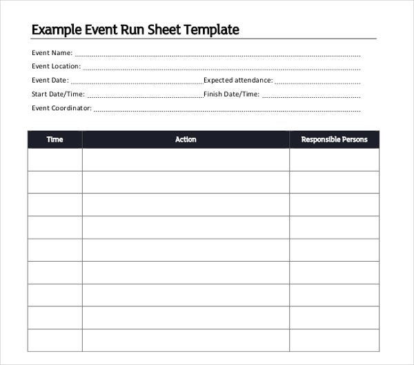 example event run sheet template