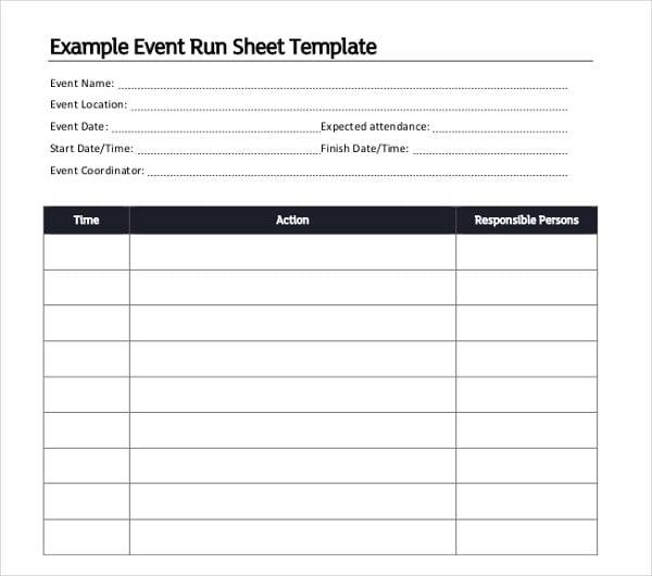 16  run sheet templates