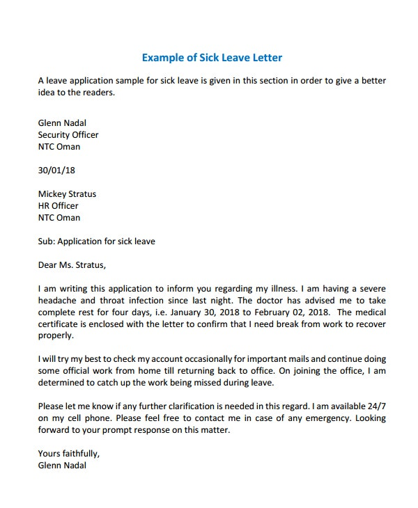 Example-of-Sick-Leave-Letter Earn Leave Application Format In Word on form format, leave office early day, leave of absence format, business letter format, white paper format, brief format, leave letter format, leave request,