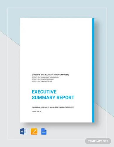 executive summary report template