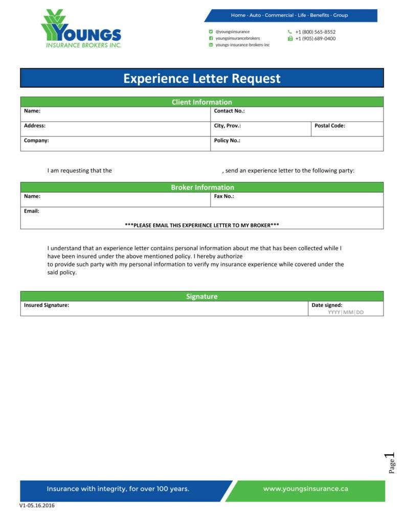 Experience Letter Request