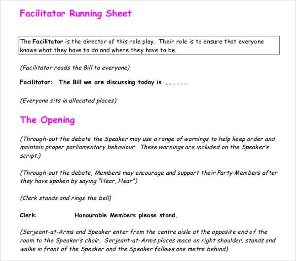 facilitator run sheet template