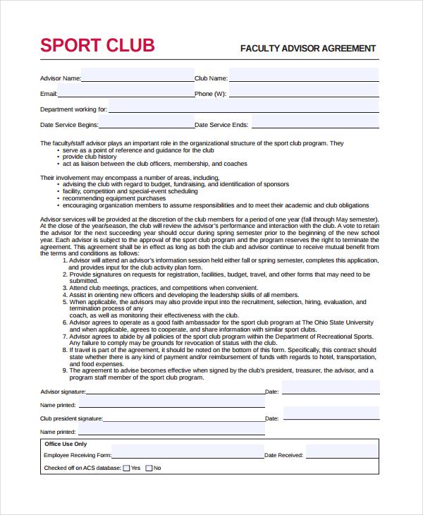 faculty advisor agreement