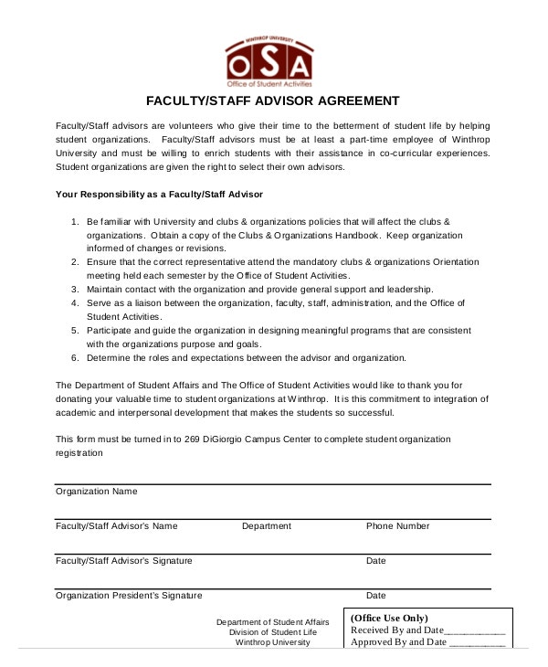 faculty staff advisor agreement