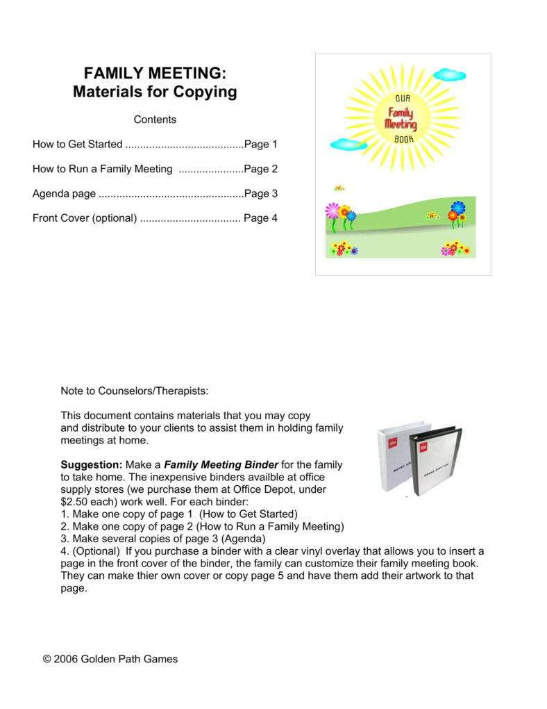 Family Meeting Minutes Template and important parts