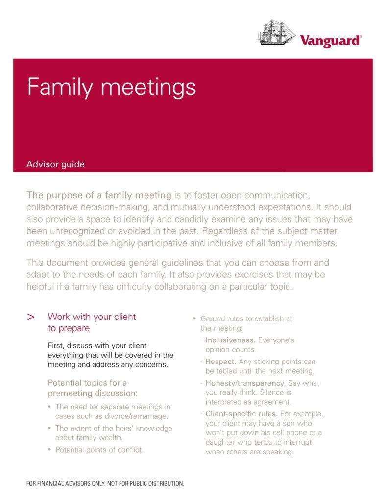 Family Meeting Template