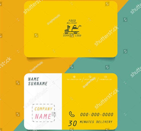 fast food delivery business card vector template