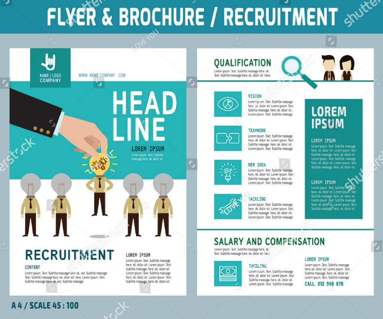 Flat Symbolic Job Recruitment Flyer Template
