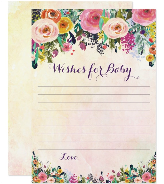 Floral Baby Wishes Card Template