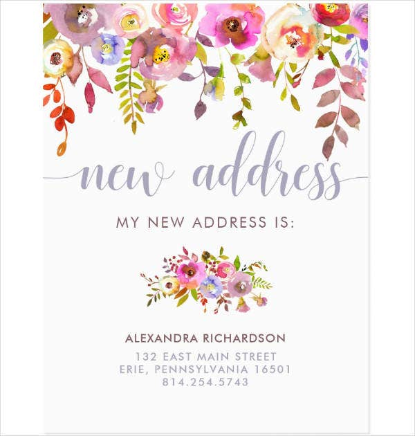 Floral New Address Postcard Template