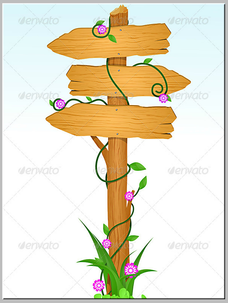 Floral Vines Wooden Directional Sign Template