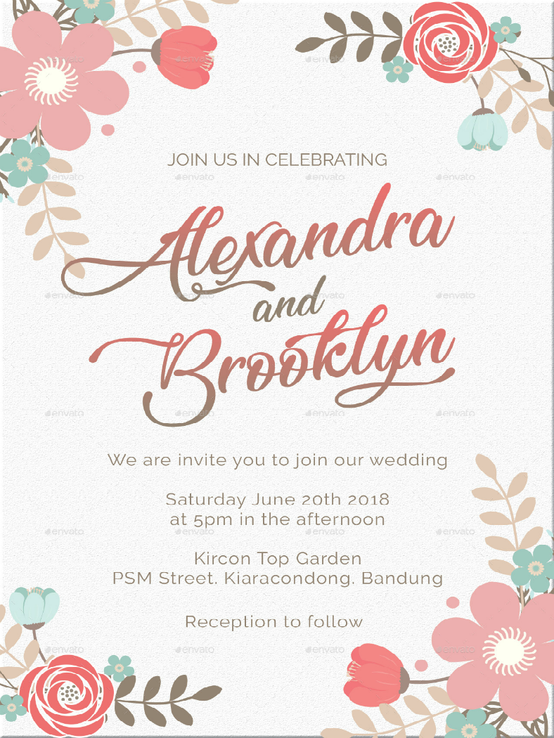 floral wedding invitation format template 788x1050