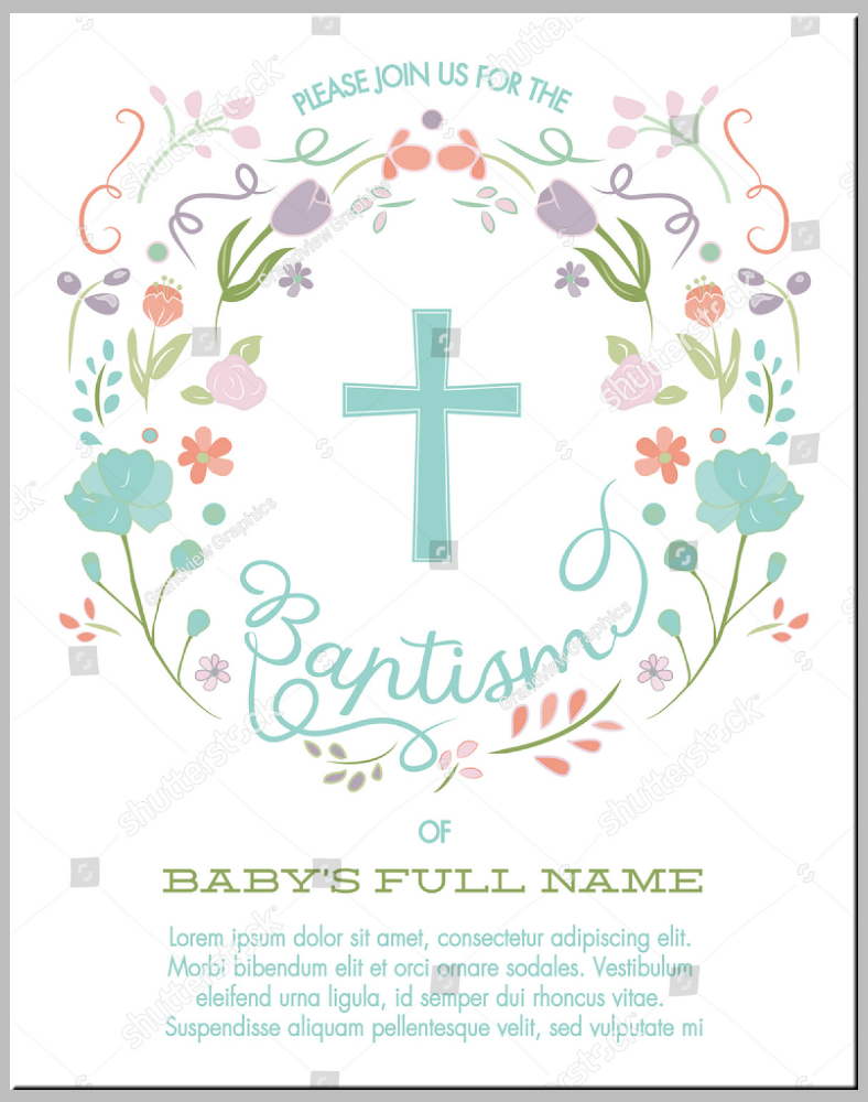 Floral Wreath Baptism Invitation Template