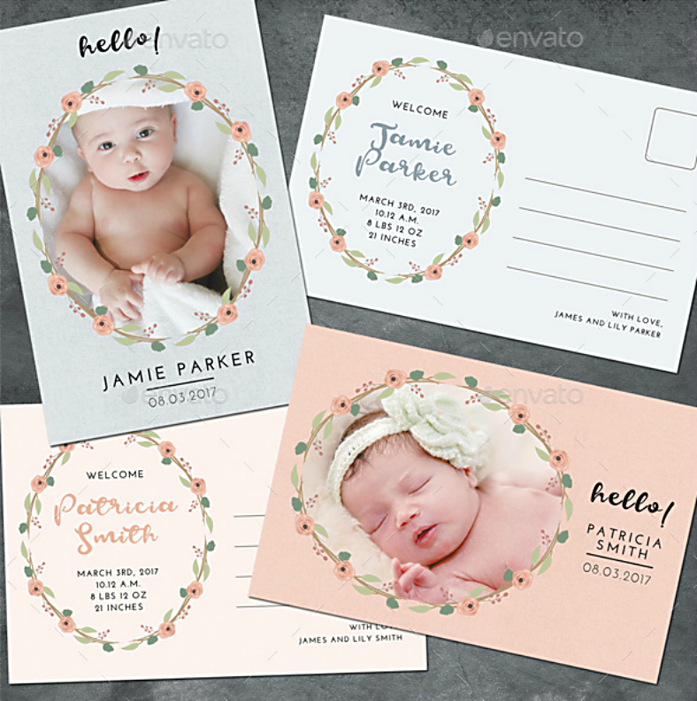 Flower Wreath Baby Announcement Postcard