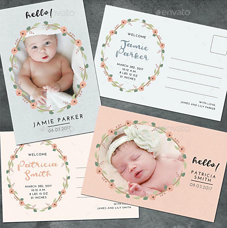 Flower Wreath Baby Announcement Postcard
