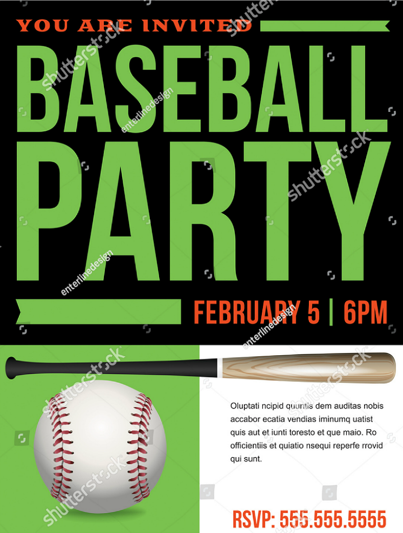 Flyer Style Baseball Party Invitation