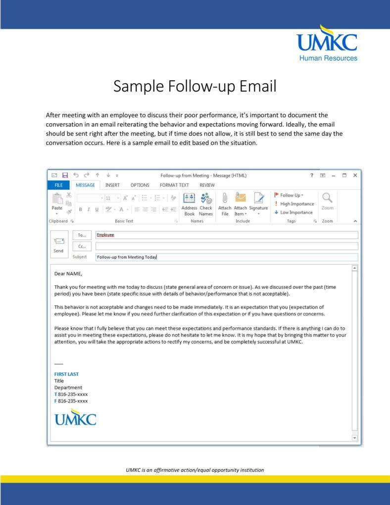 Follow Up Email Letter Sample