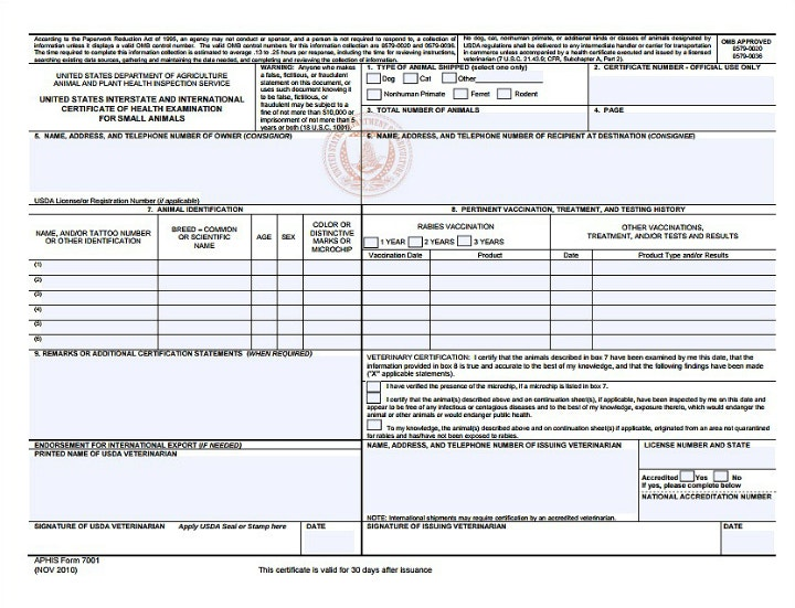 free animal and plant health certificate form template1