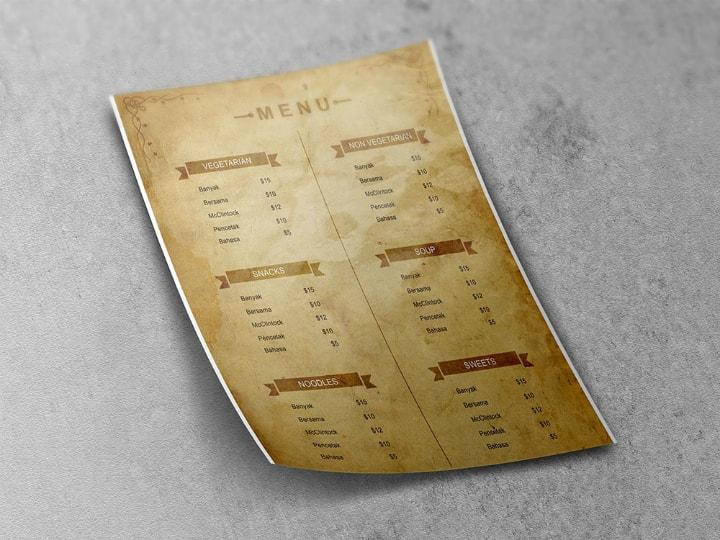 free blank rustic printable menu template