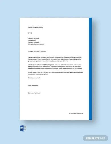 free bonus request letter