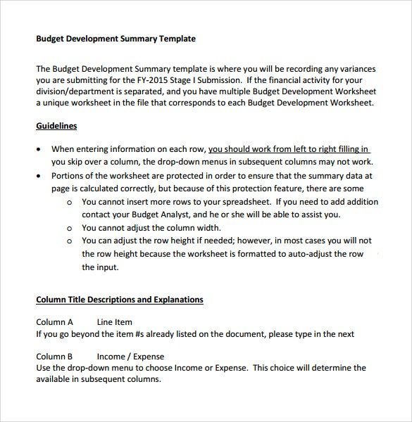 Free Budget Development Summary Template