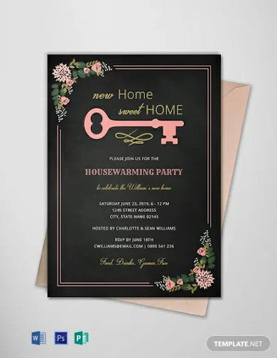 free chalkboard housewarming invitation template