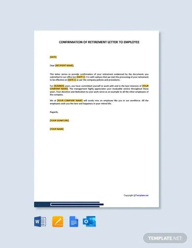 free confirmation of retirement letter to employee