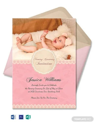 free happy baby naming ceremony invitation card template