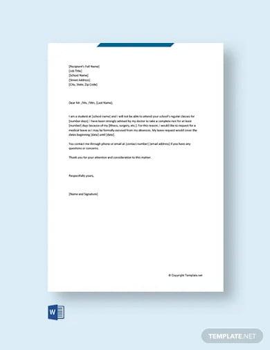 free medical leave letter for school