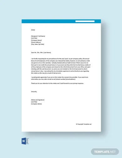 free request letter for annual bonus