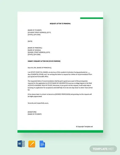 free request letter for principal