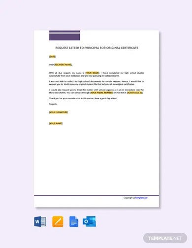free request letter to principal for original certificates