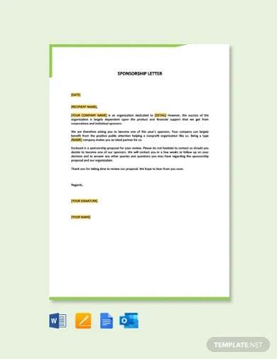 free sample sponsorship letter template
