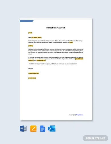 free school leave letter template