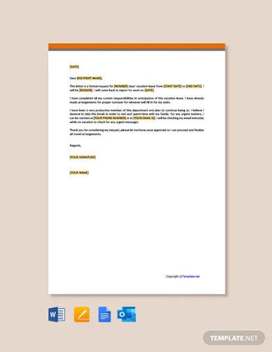 free simple vacation request letter template