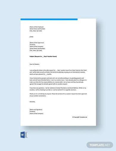 free vacation leave letter for office