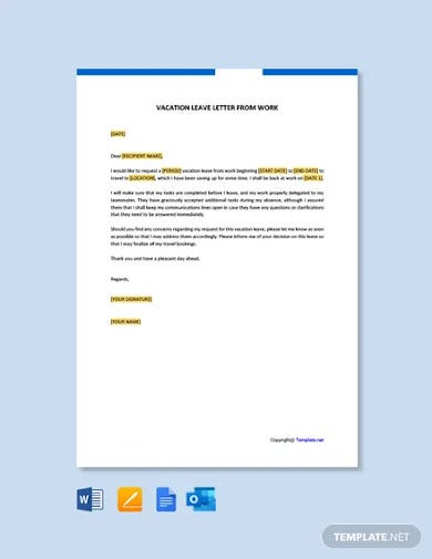 free vacation leave letter for work