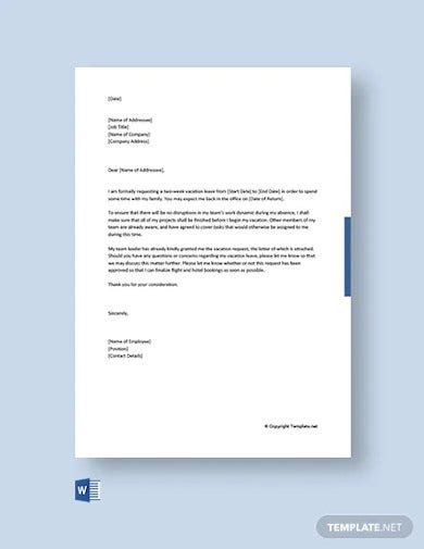 free vacation leave letter