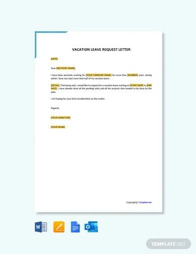 free vacation leave request letter